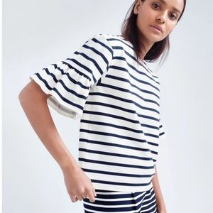 Anthropologie W5 striped crop top bell-sleeves